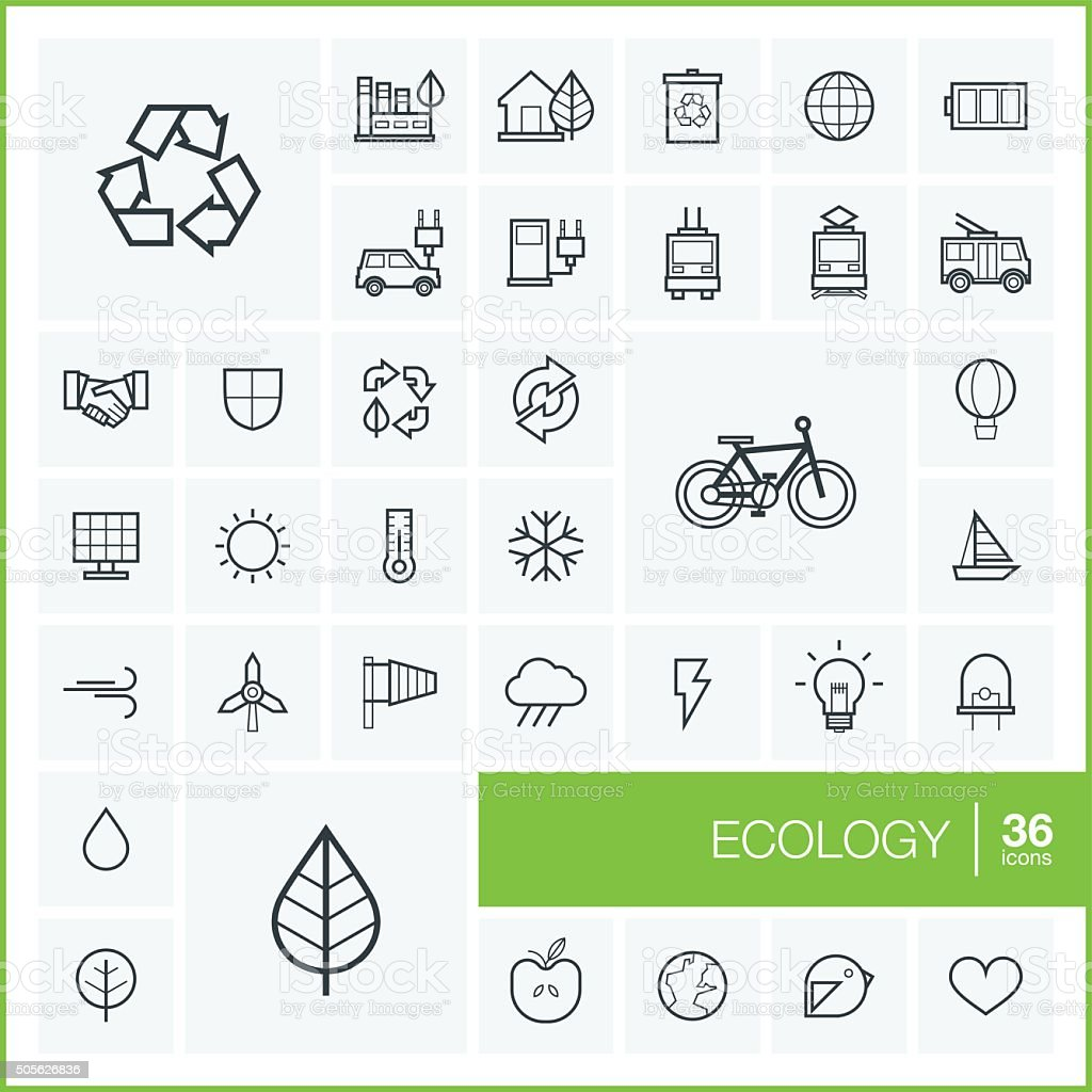 Vector thin line ecology icons set and graphic design elements vector art illustration