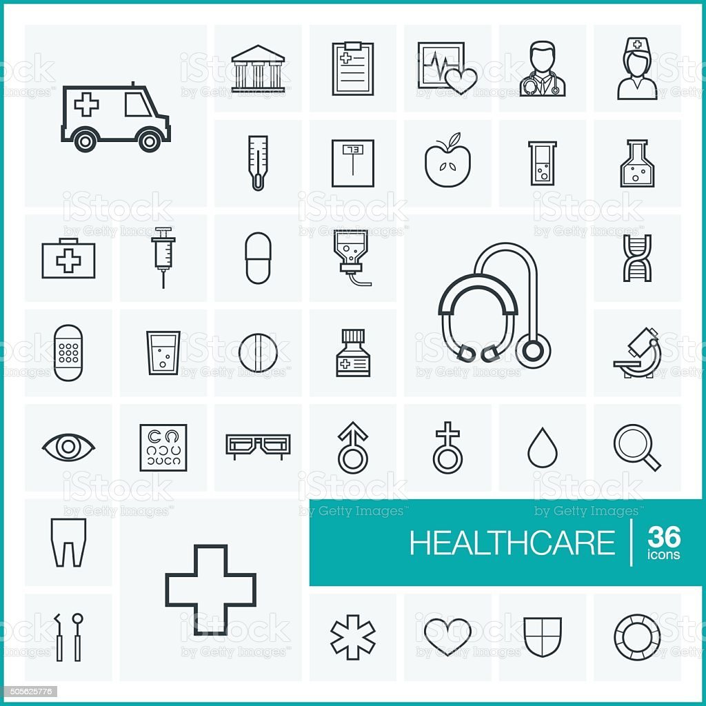 Vector thin line healthcare icons set and graphic design elements vector art illustration
