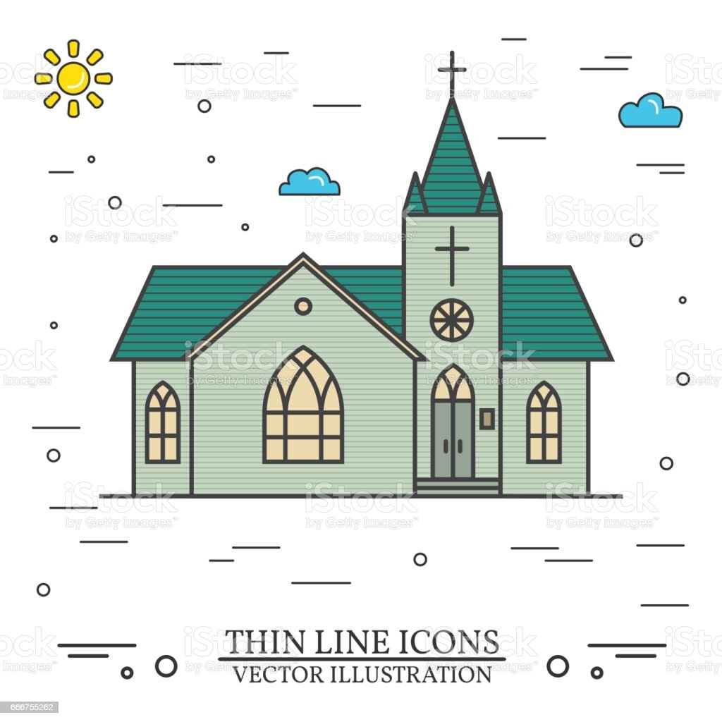 Vector thin line icon church vector art illustration