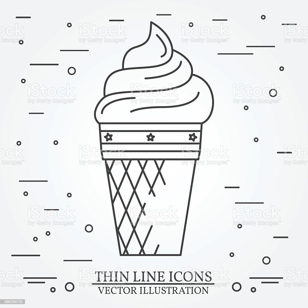 Vector thin line icon ice-cream. vector art illustration