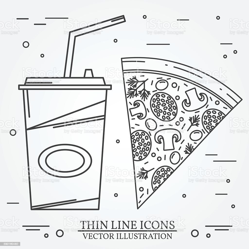 Vector thin line icon pizza,  hot dog and burger vector art illustration