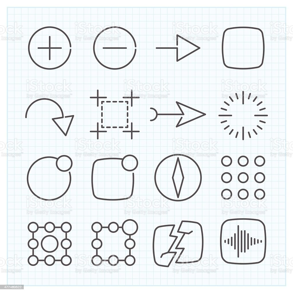 Vector thin line icons set vector art illustration