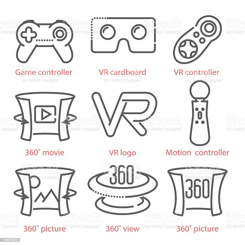 Vector thin line icons set with Virtual Reality equipment vector art illustration