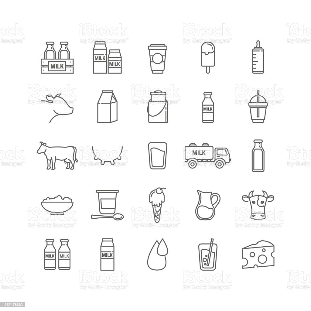Vector thin line set of milk, dairy and cows vector art illustration