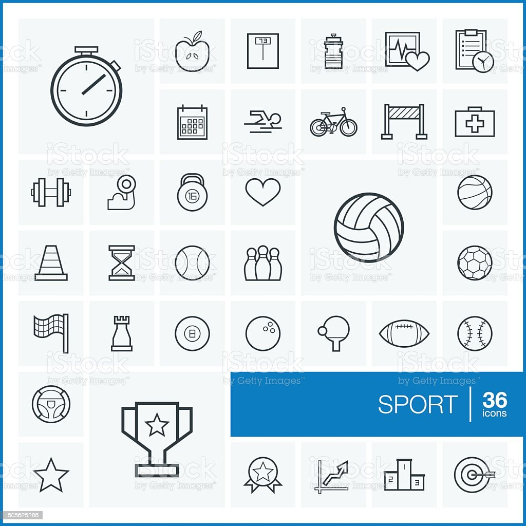 Vector thin line sport icons set and graphic design elements vector art illustration