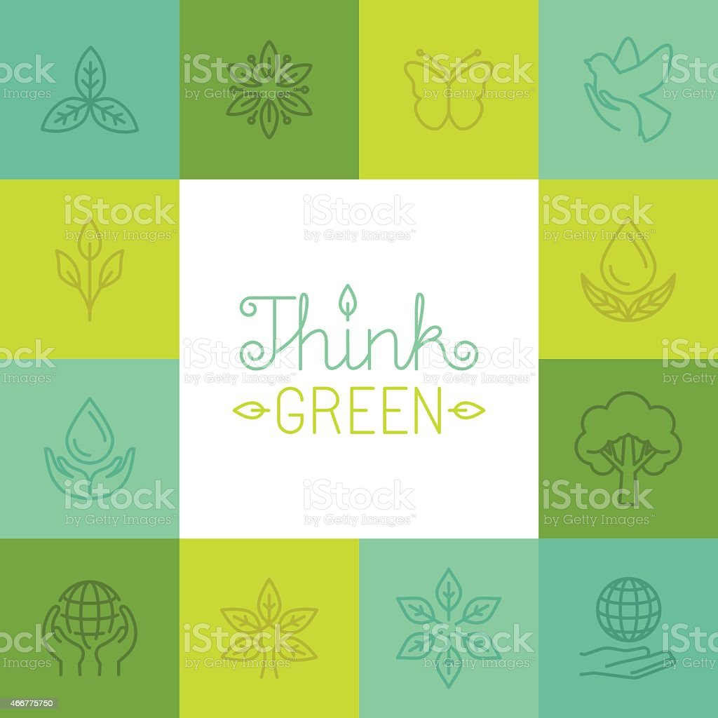 Vector think green concept in linear style vector art illustration