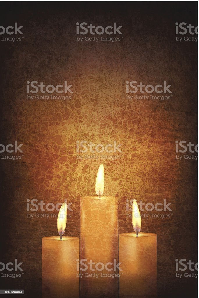 Vector - Three Candles on Grunge Wall vector art illustration