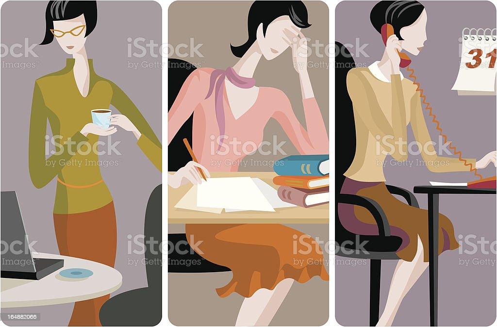 Vector three illustration series of businesswoman royalty-free stock vector art