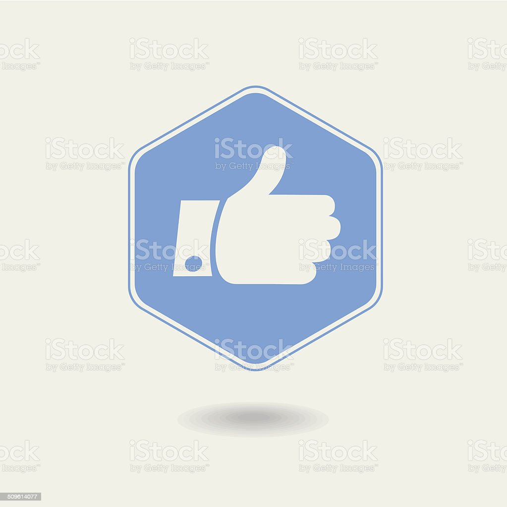 Vector Thumb up. Hexagonal Icon , flat design vector art illustration