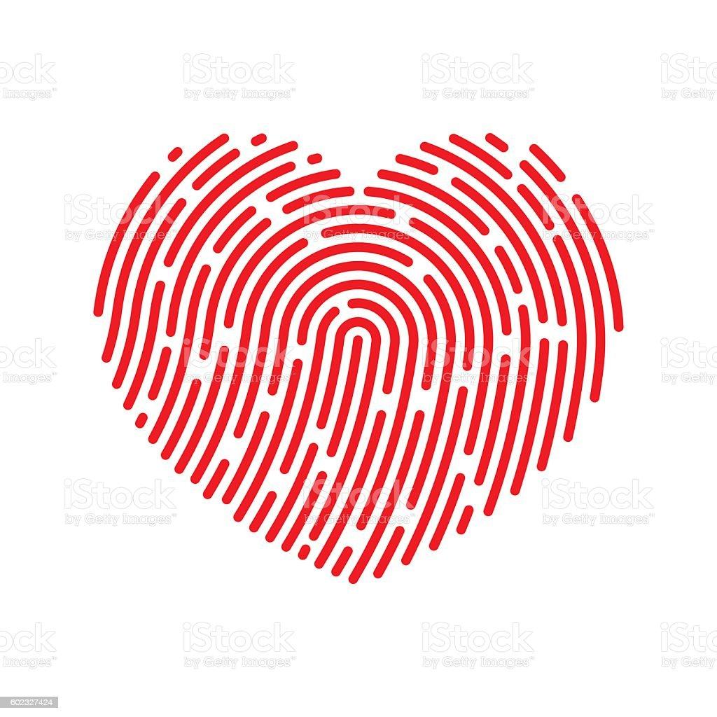 Vector Thumbprint Heart Icon vector art illustration