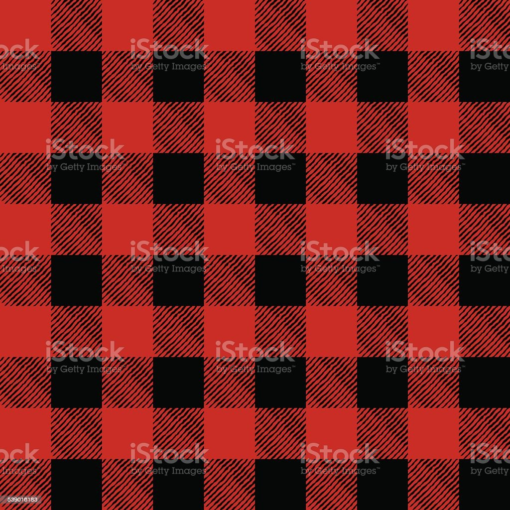 Vector Tiled Red and Black Flannel Pattern Illustration vector art illustration