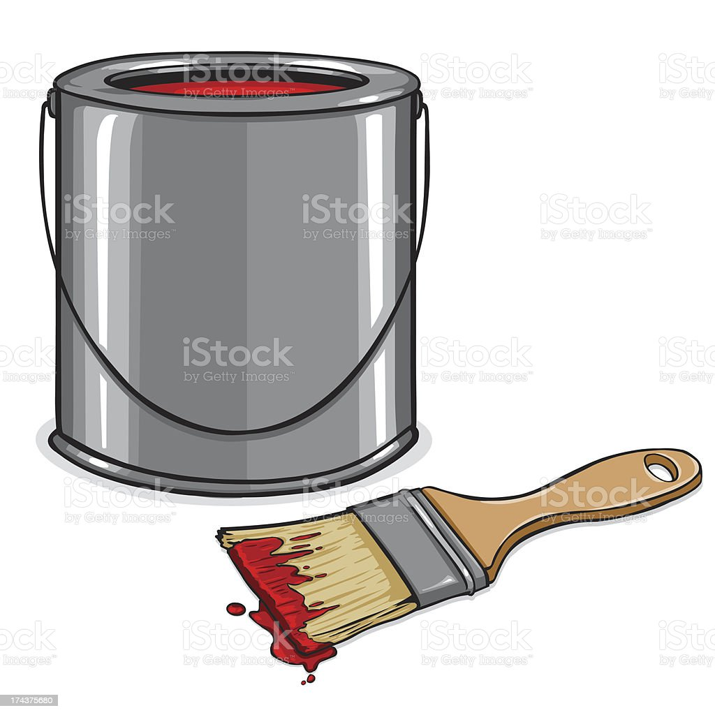 vector tin with red paint and brush royalty-free stock vector art