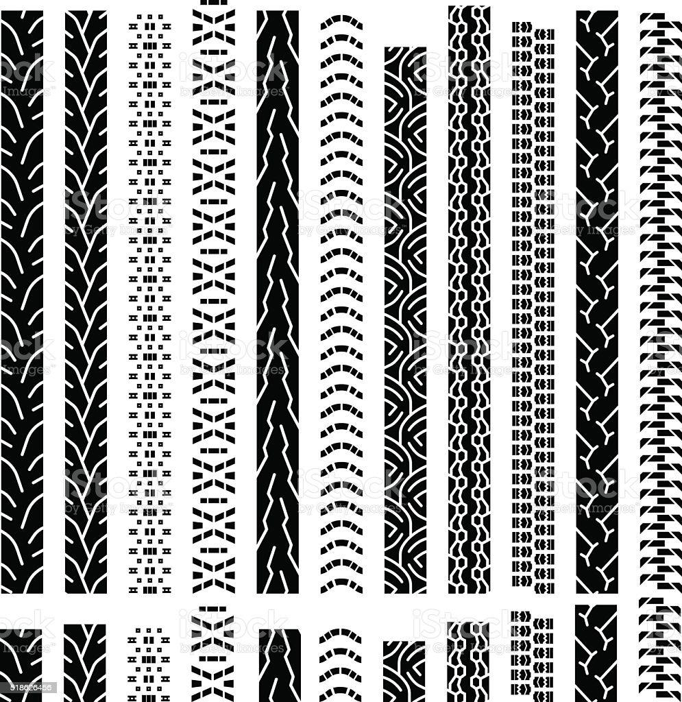 vector tire tracks vector art illustration