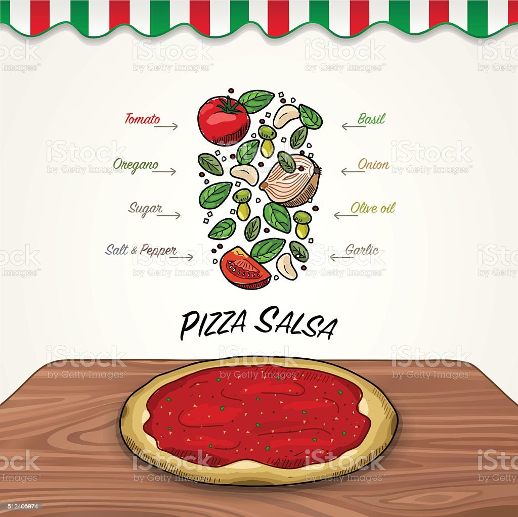 Vector Tomato Sauce Ingredients Falling Down to Pizza vector art illustration