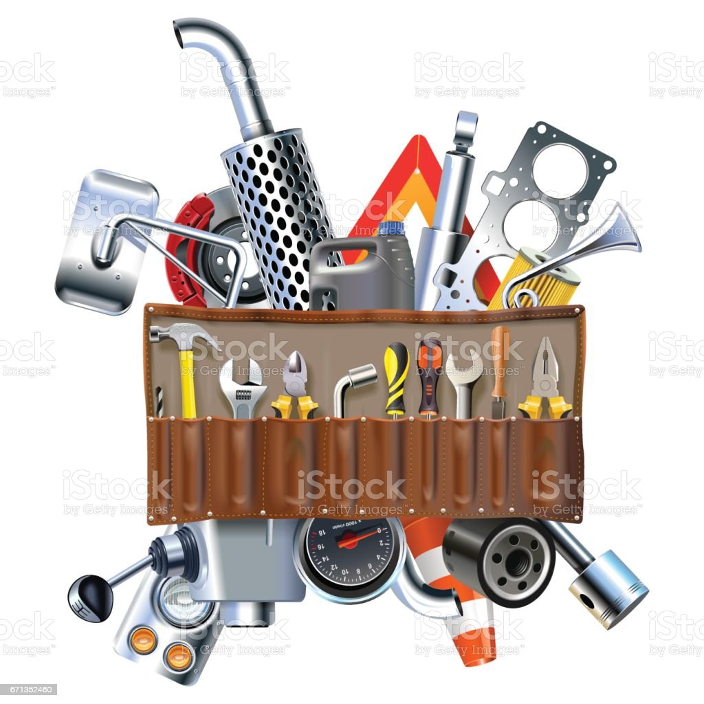 Vector Tool Kit with Car Spares vector art illustration