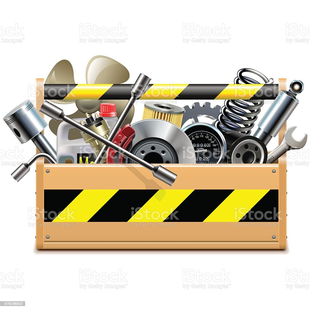 Vector Toolbox with Car Spares vector art illustration