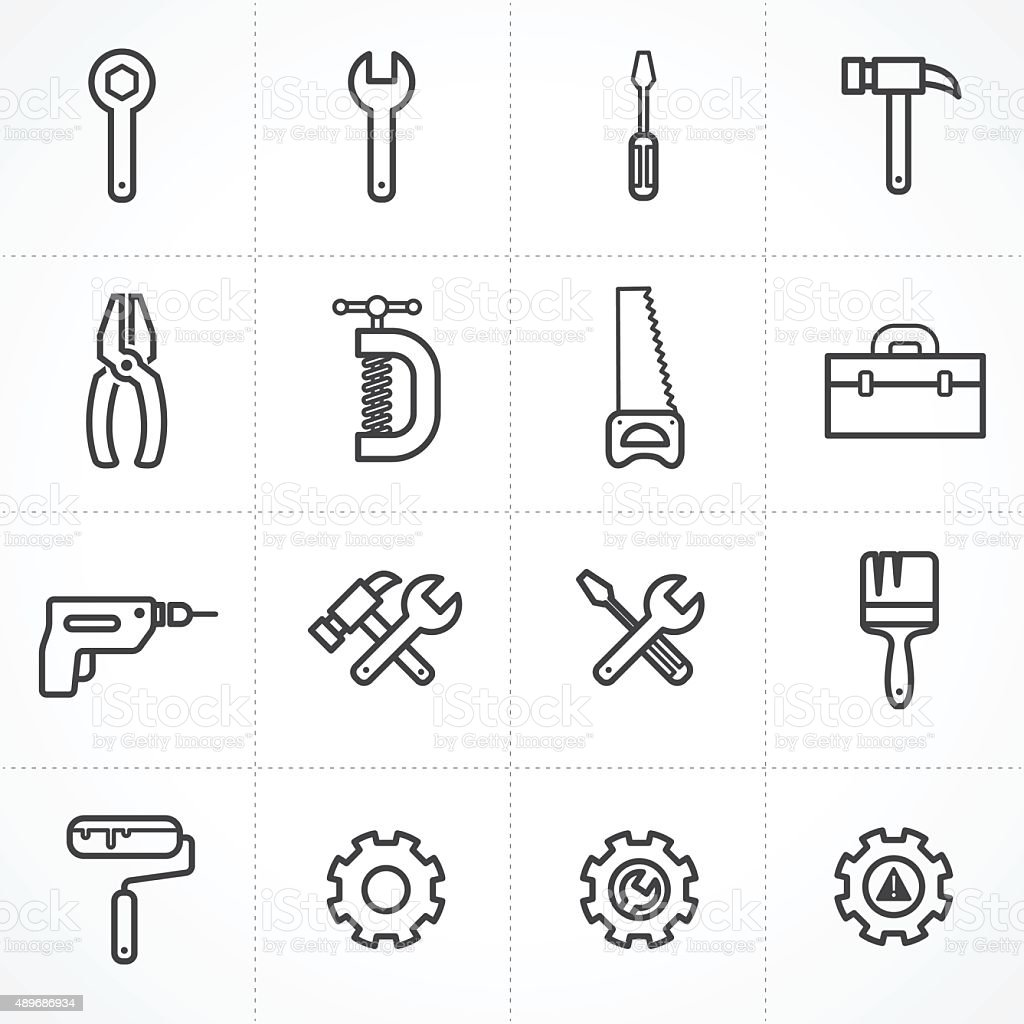 Vector tools icon set vector art illustration