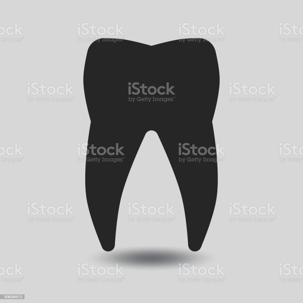 Vector tooth silhouette vector art illustration