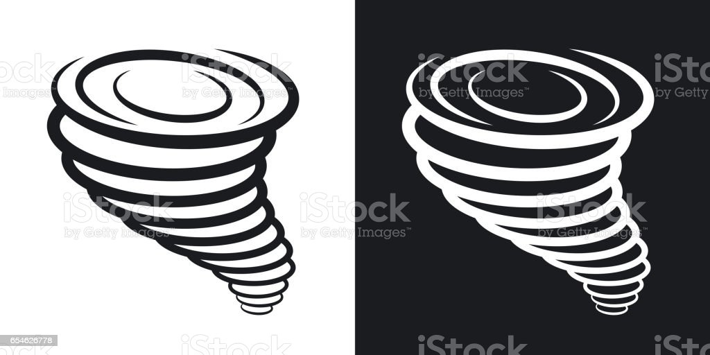 Vector tornado icon. Two-tone version on black and white background vector art illustration