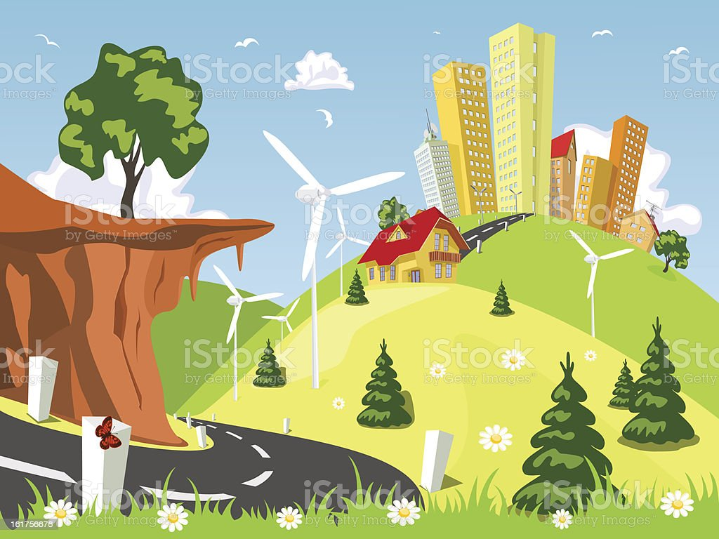 Vector town in the countryside royalty-free stock vector art