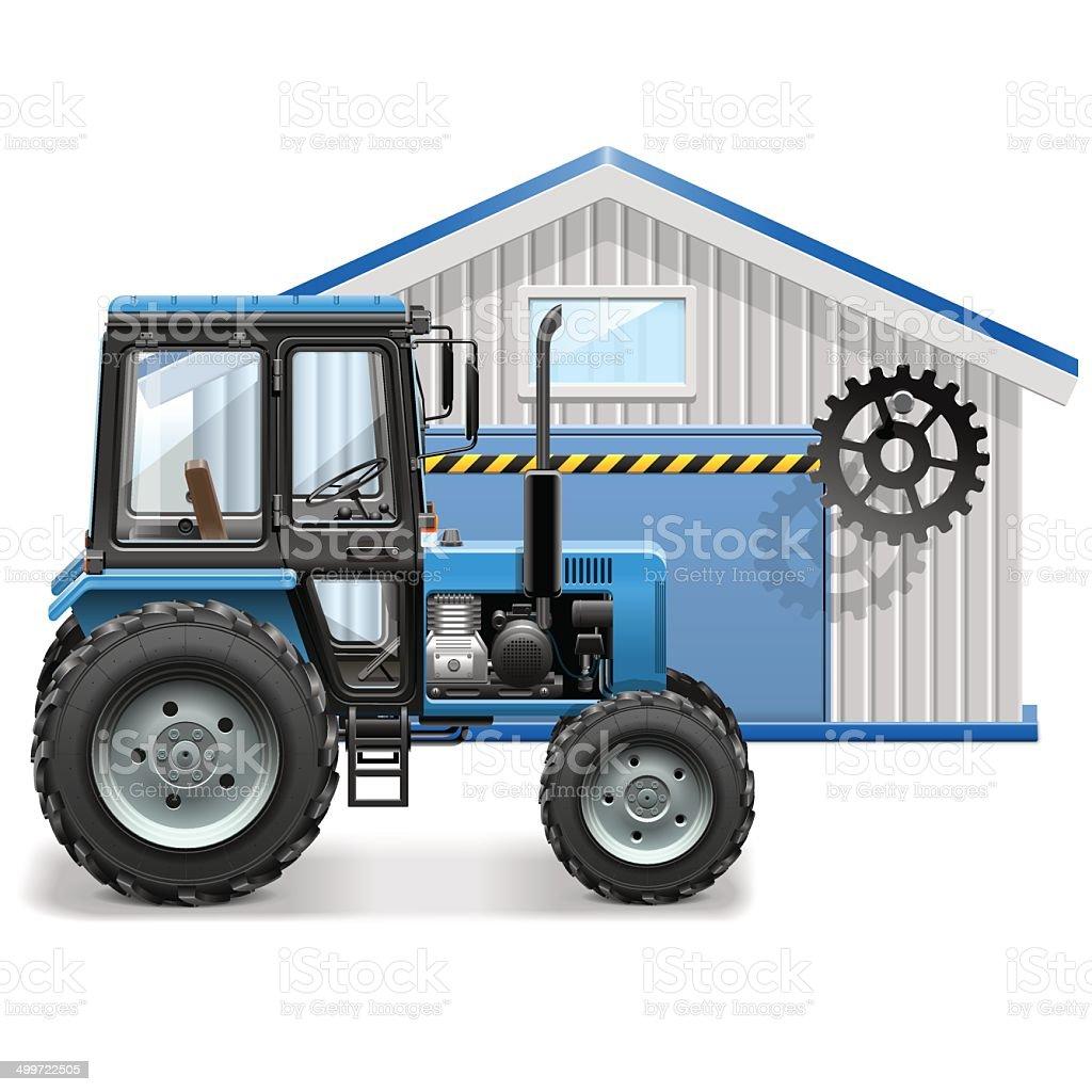 Vector Tractor Repair Concept vector art illustration