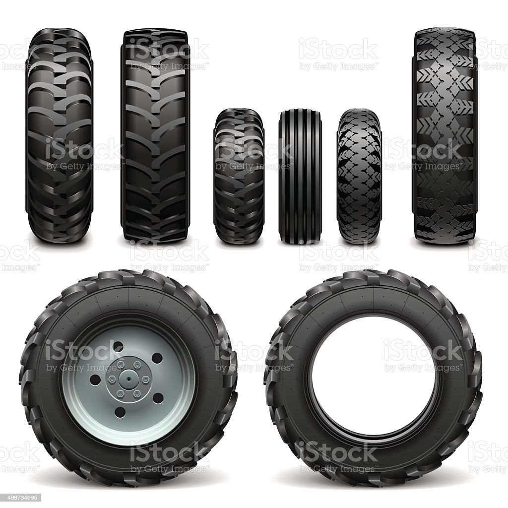 Vector Tractor Tires vector art illustration
