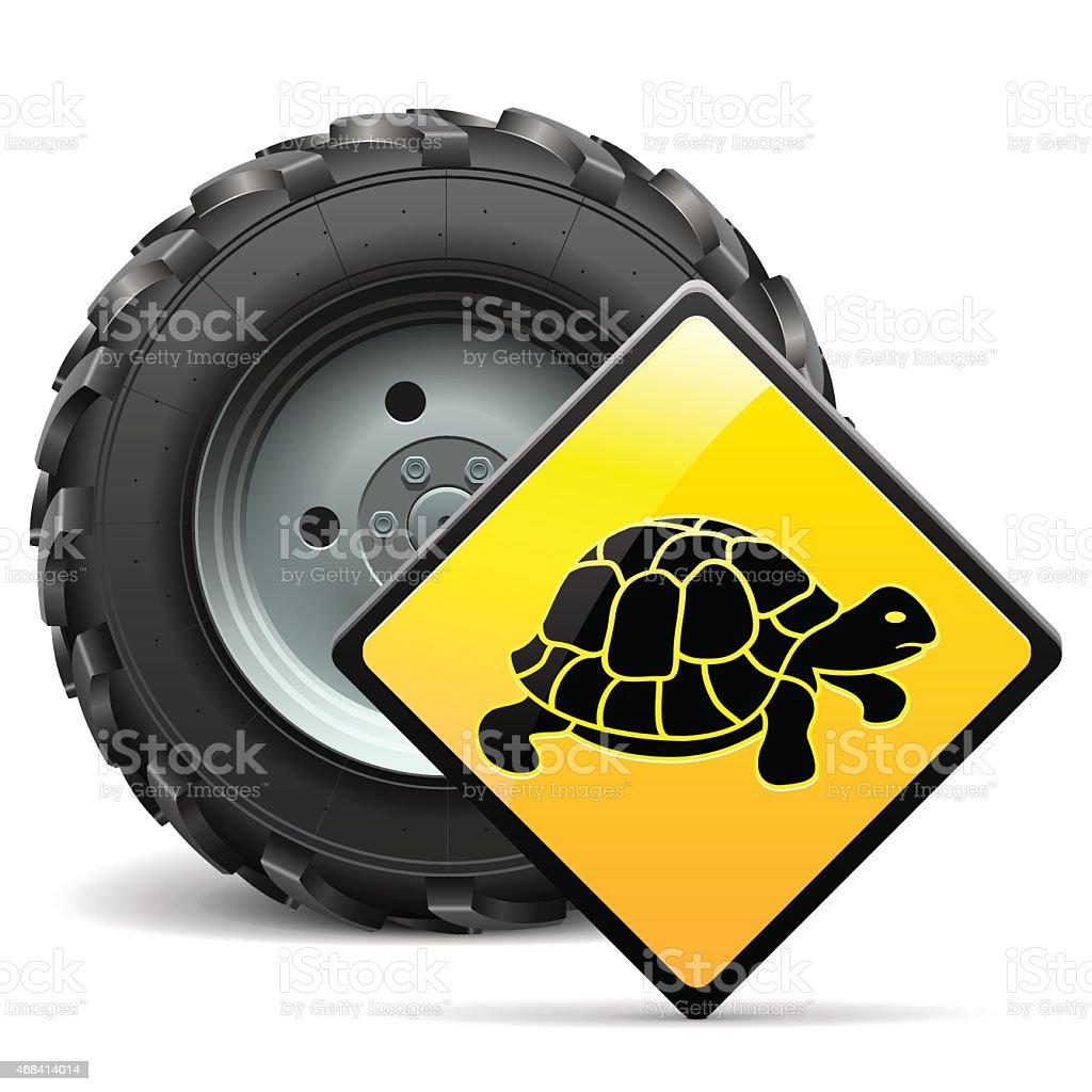 Vector Tractor Wheel with Sign vector art illustration