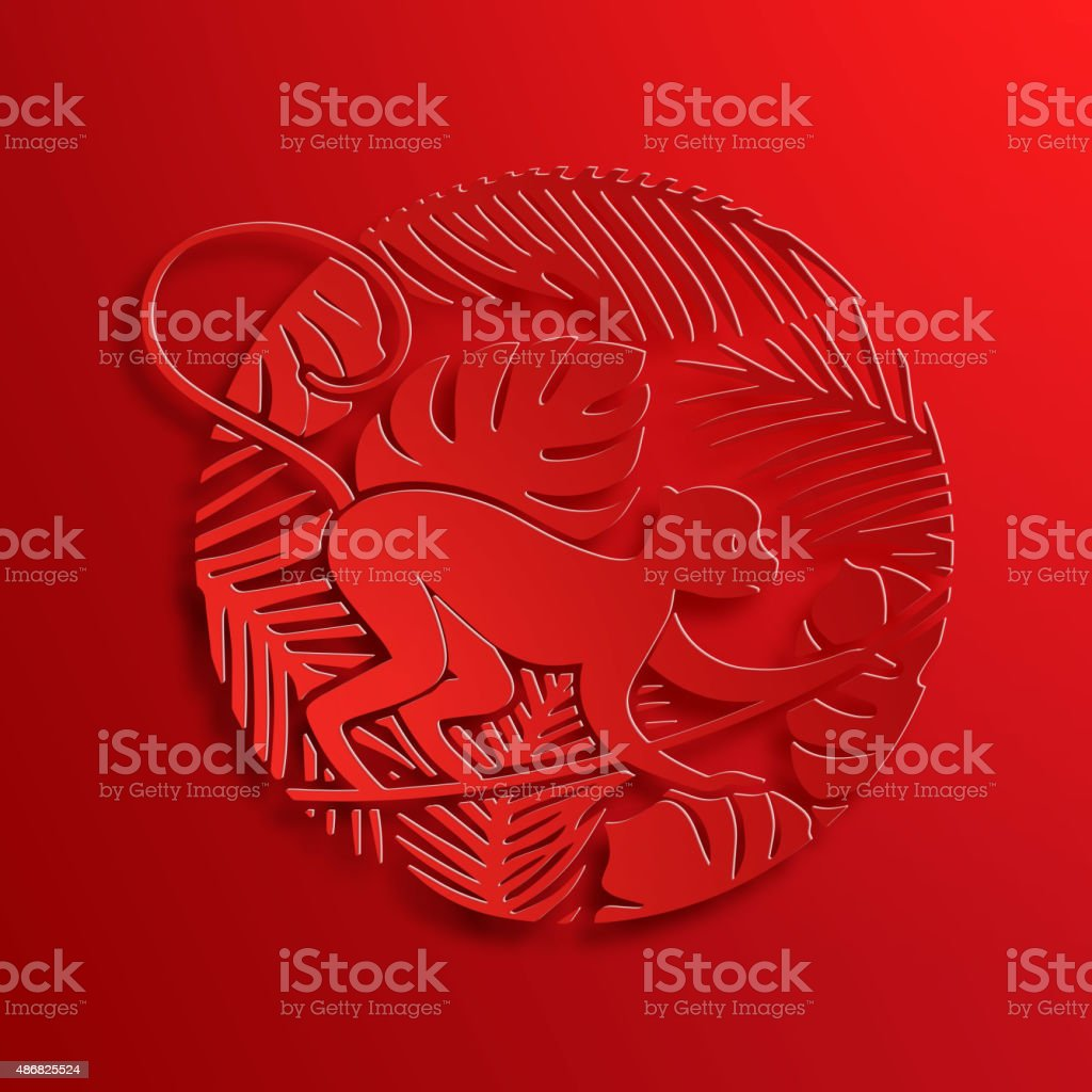 Vector Traditional Chinese Monkey Paper Cutting vector art illustration