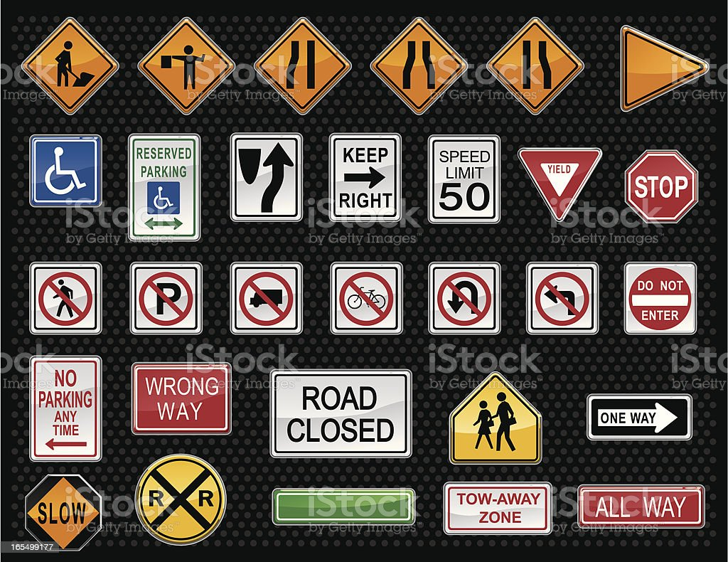 Vector Traffic Warning Sign Buttons vector art illustration