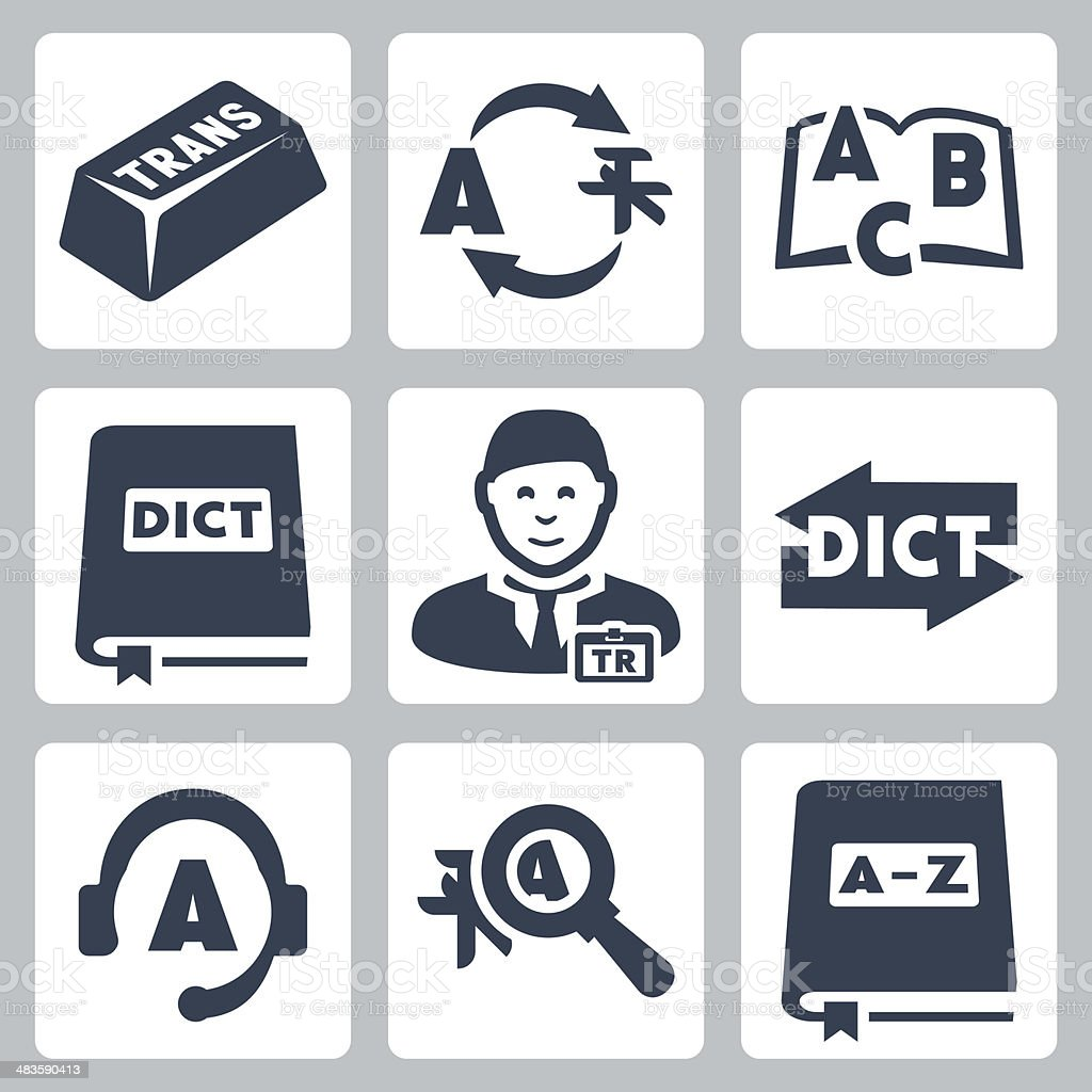 Vector translation and dictionary icons set vector art illustration