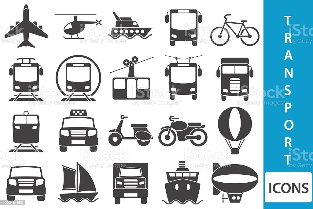 Vector transport icons vector art illustration