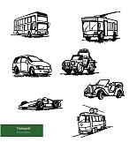 Vector Transport Set of Buses and Passenger Cars.