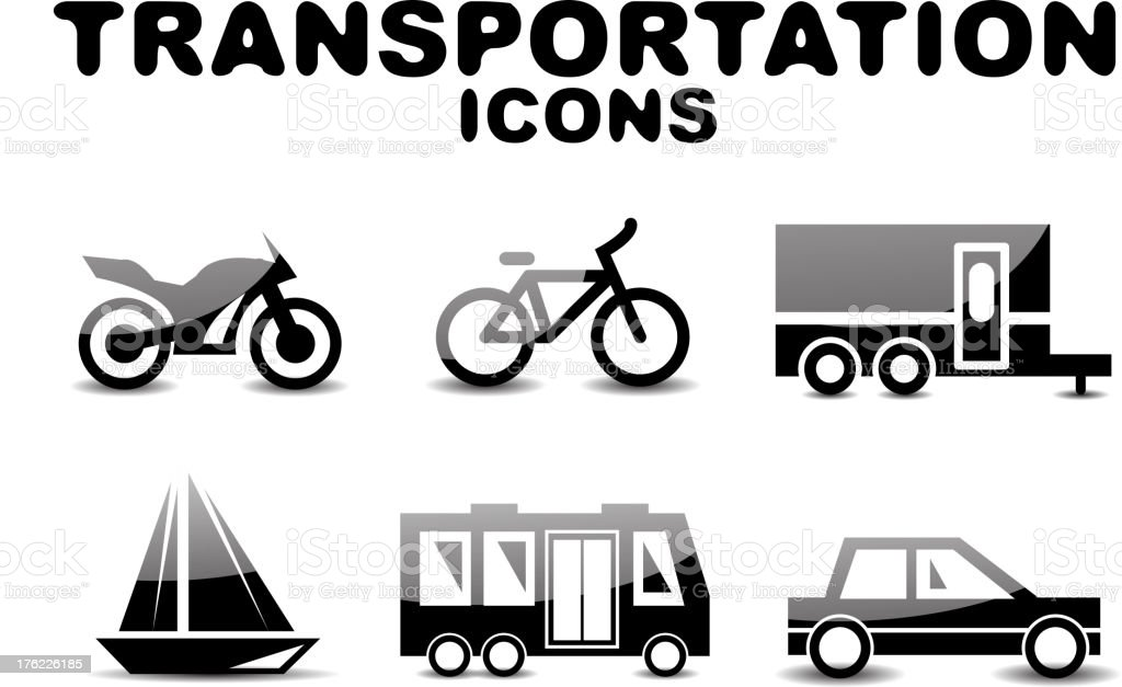Vector transportation icons royalty-free stock vector art
