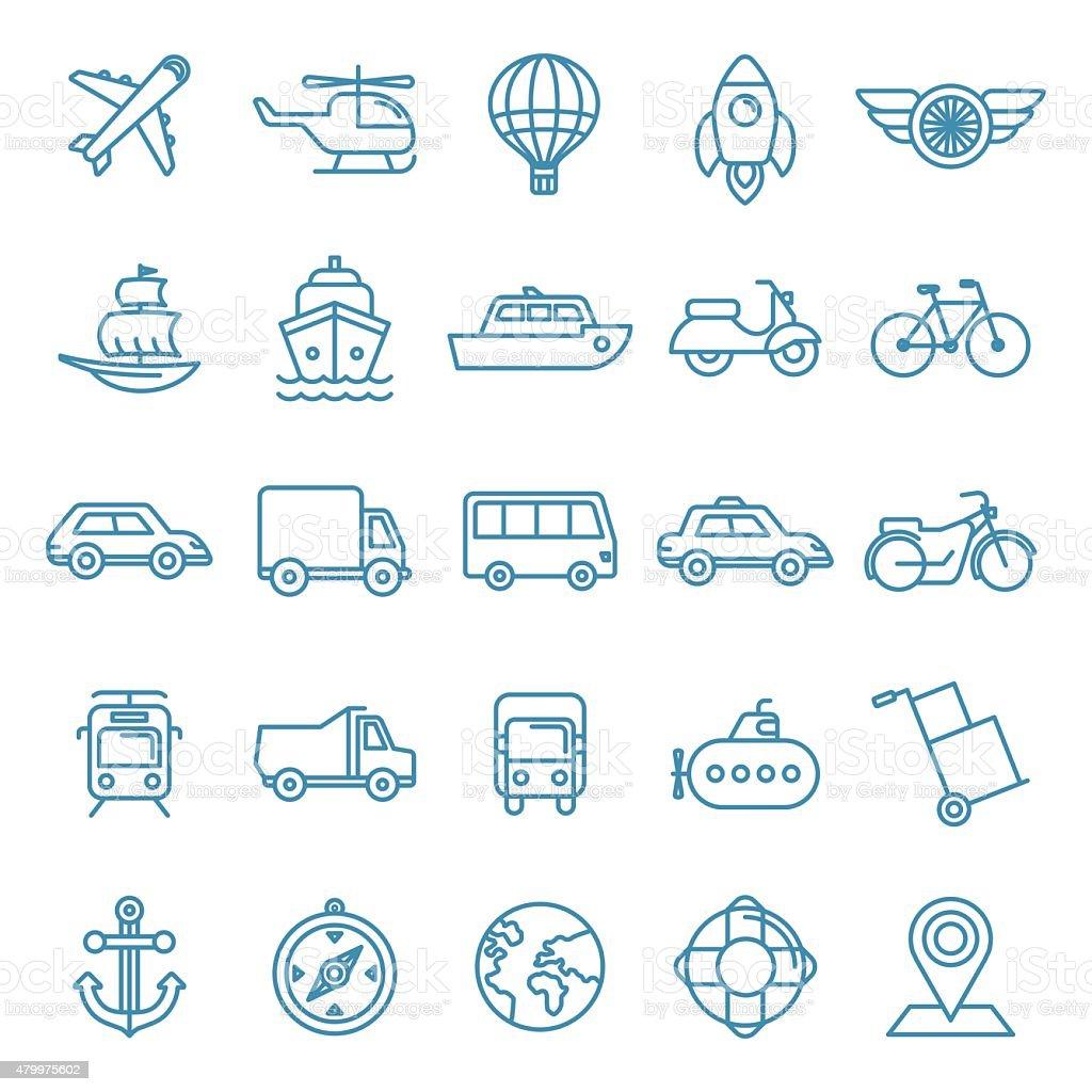 Vector transportation icons vector art illustration