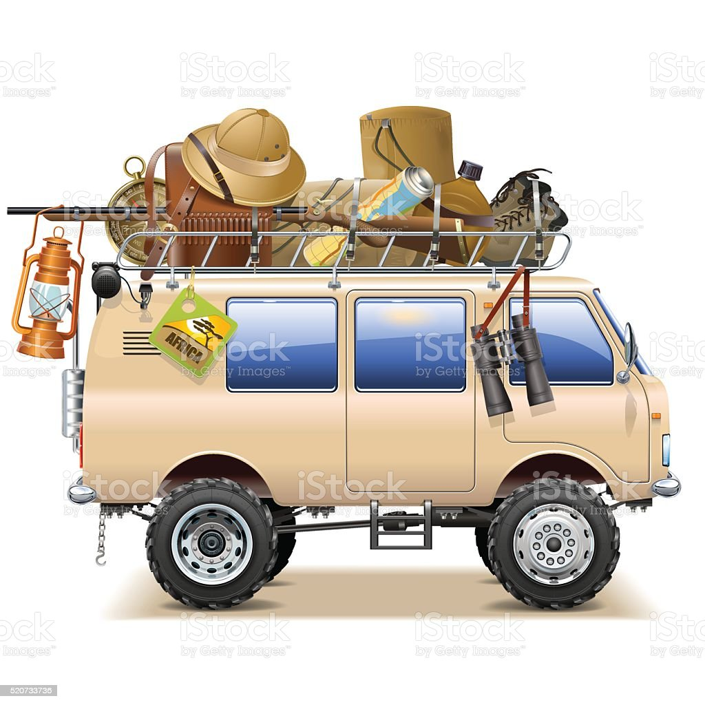 Vector Travel Car with Safari Accessories vector art illustration
