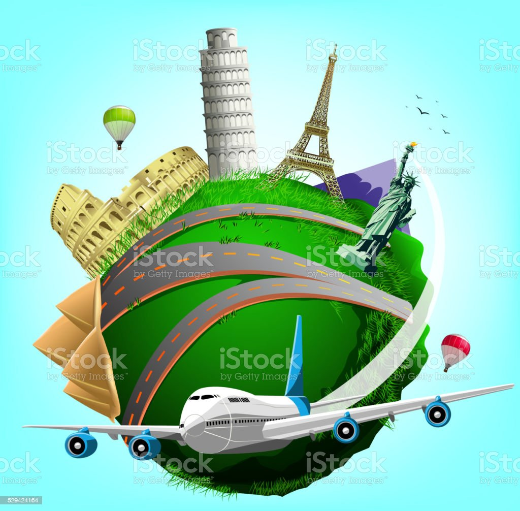 Vector Travel Green Planet with Plane and World's Famous Landmarks vector art illustration