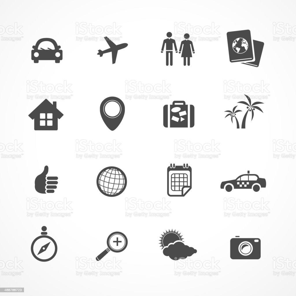 Vector Travel icons set vector art illustration