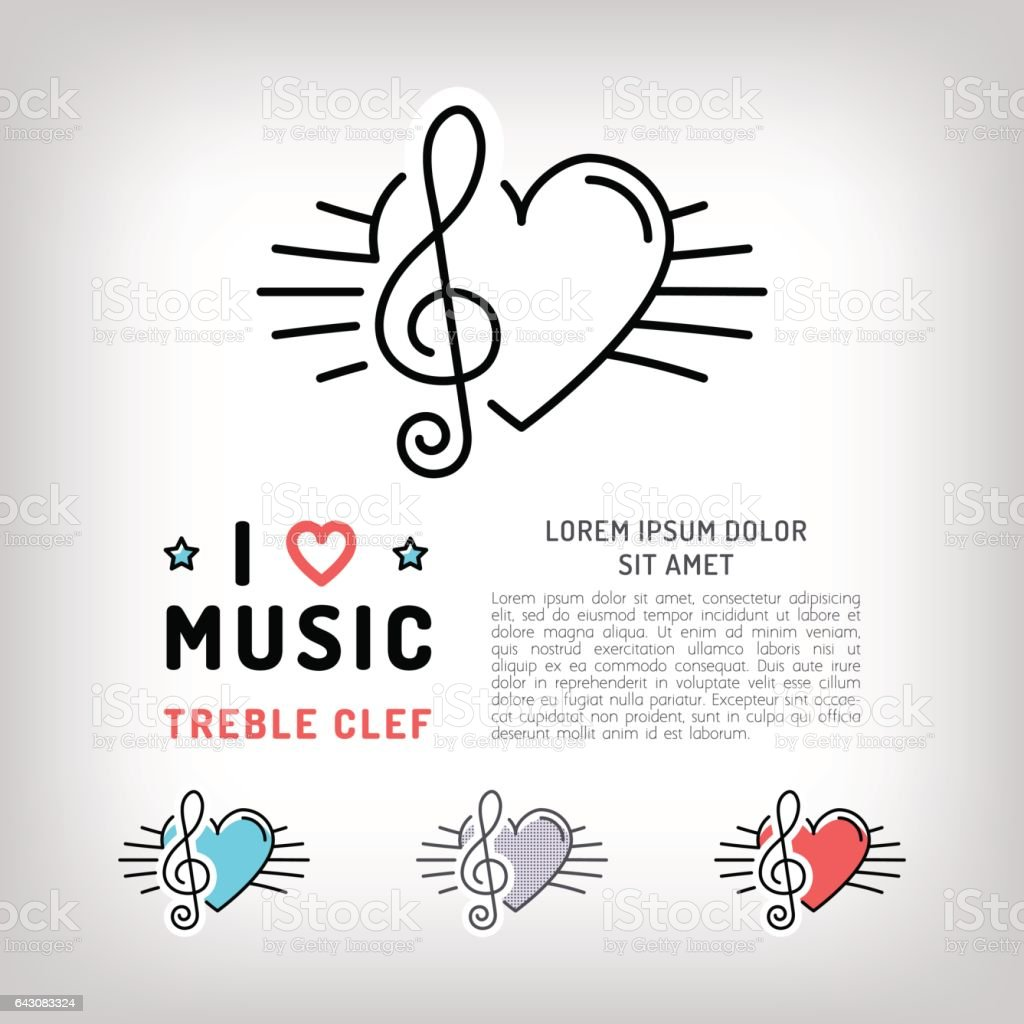Vector treble clef icon, Musical note and heart line art vector art illustration