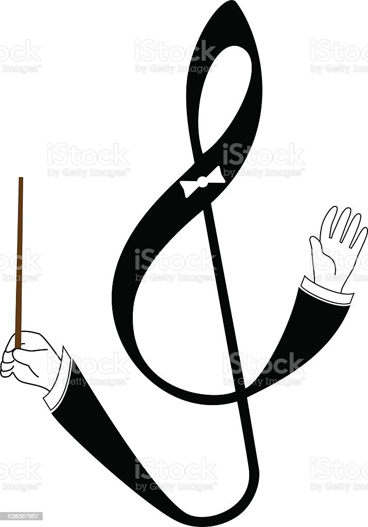 vector treble clef with conducting hand vector art illustration