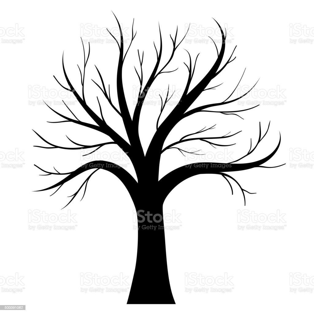 Vector tree silhouette vector art illustration
