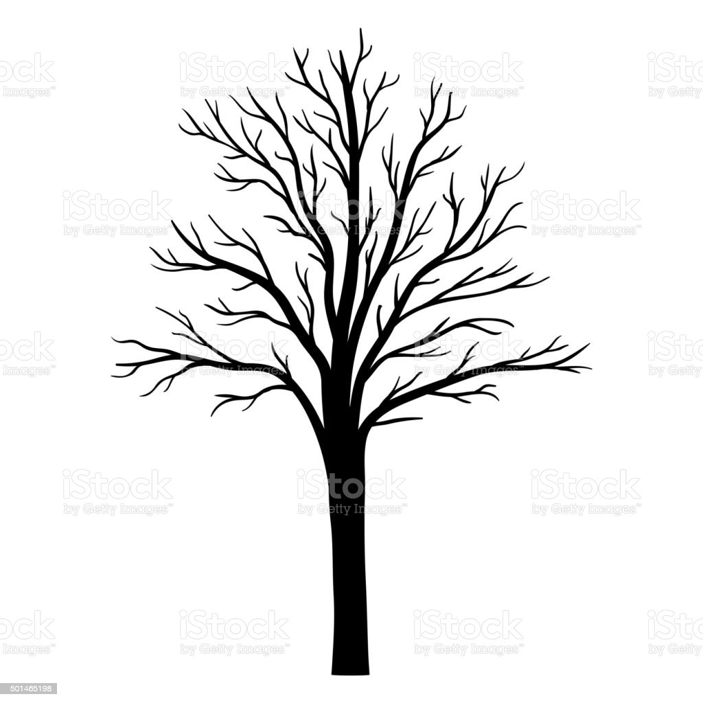 Vector tree silhouette vector art illustration