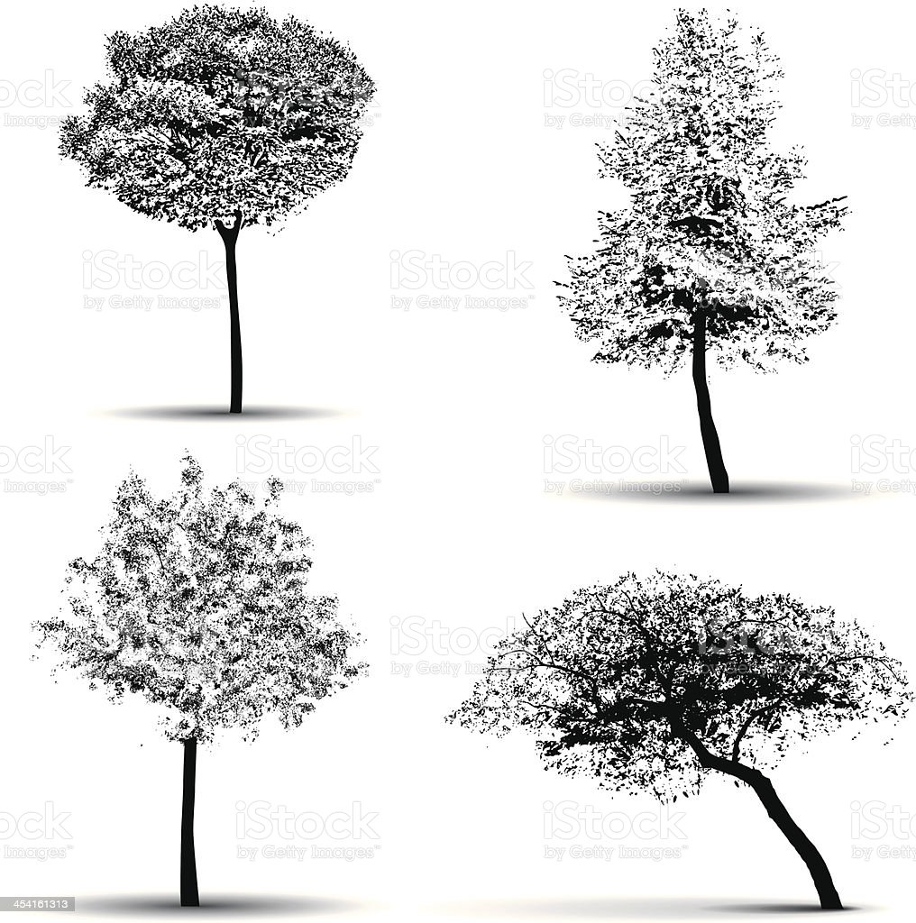 vector tree silhouettes vector art illustration