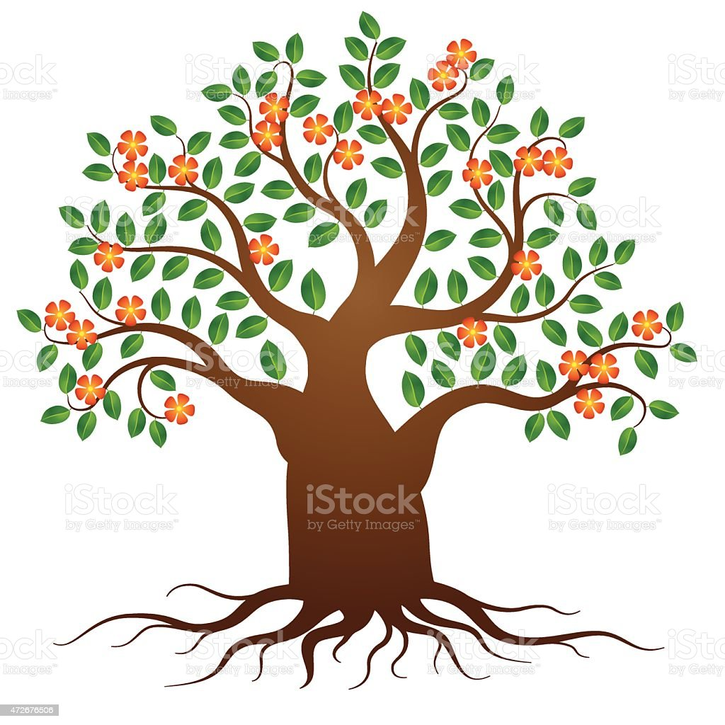 Vector tree with roots and flowers vector art illustration