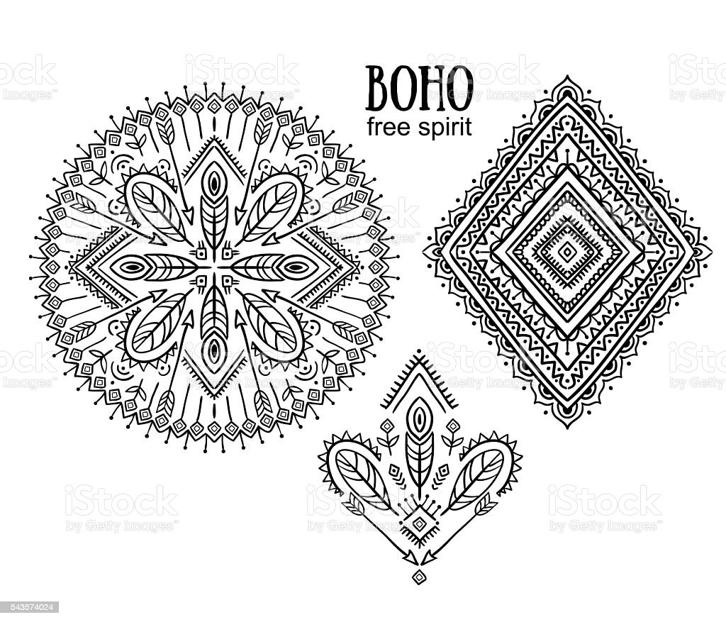 Vector Tribal elements, ethnic collection, aztec stylish ornaments. vector art illustration