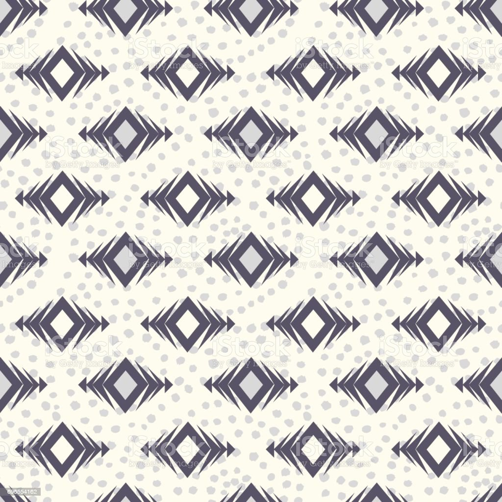 Vector tribal seamless pattern. Modern boho stylish texture. Geometric ethnic ornament with rhombuses and grunge dots. vector art illustration