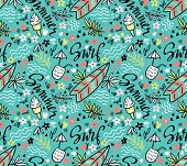 Vector tropical bright  seamless pattern with surfboard, cocktail, ice cream.