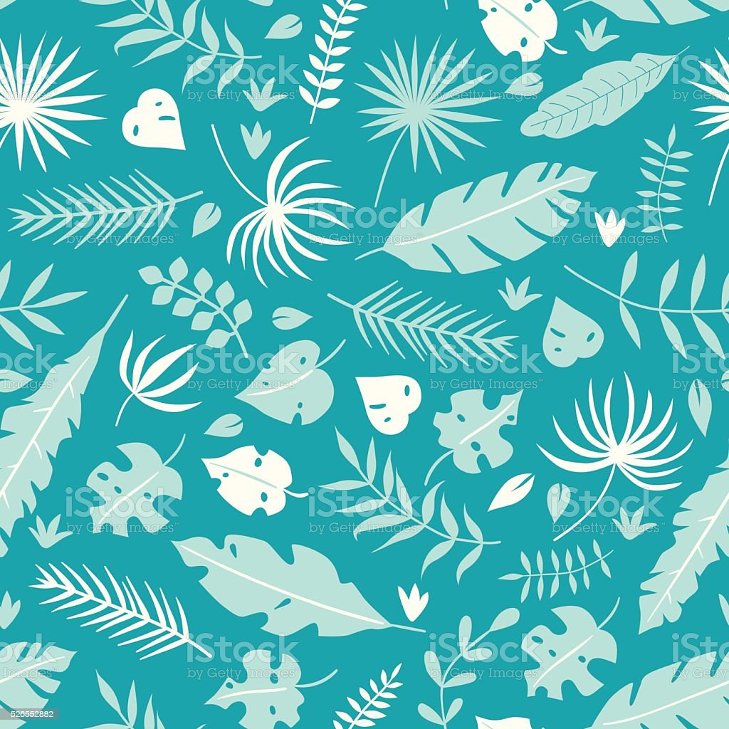 Vector tropical leaves seamless pattern vector art illustration