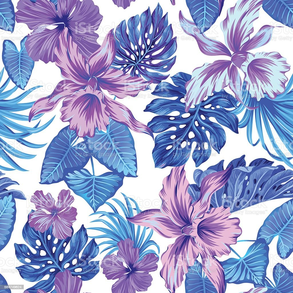 vector tropical pattern with orchids. vector art illustration