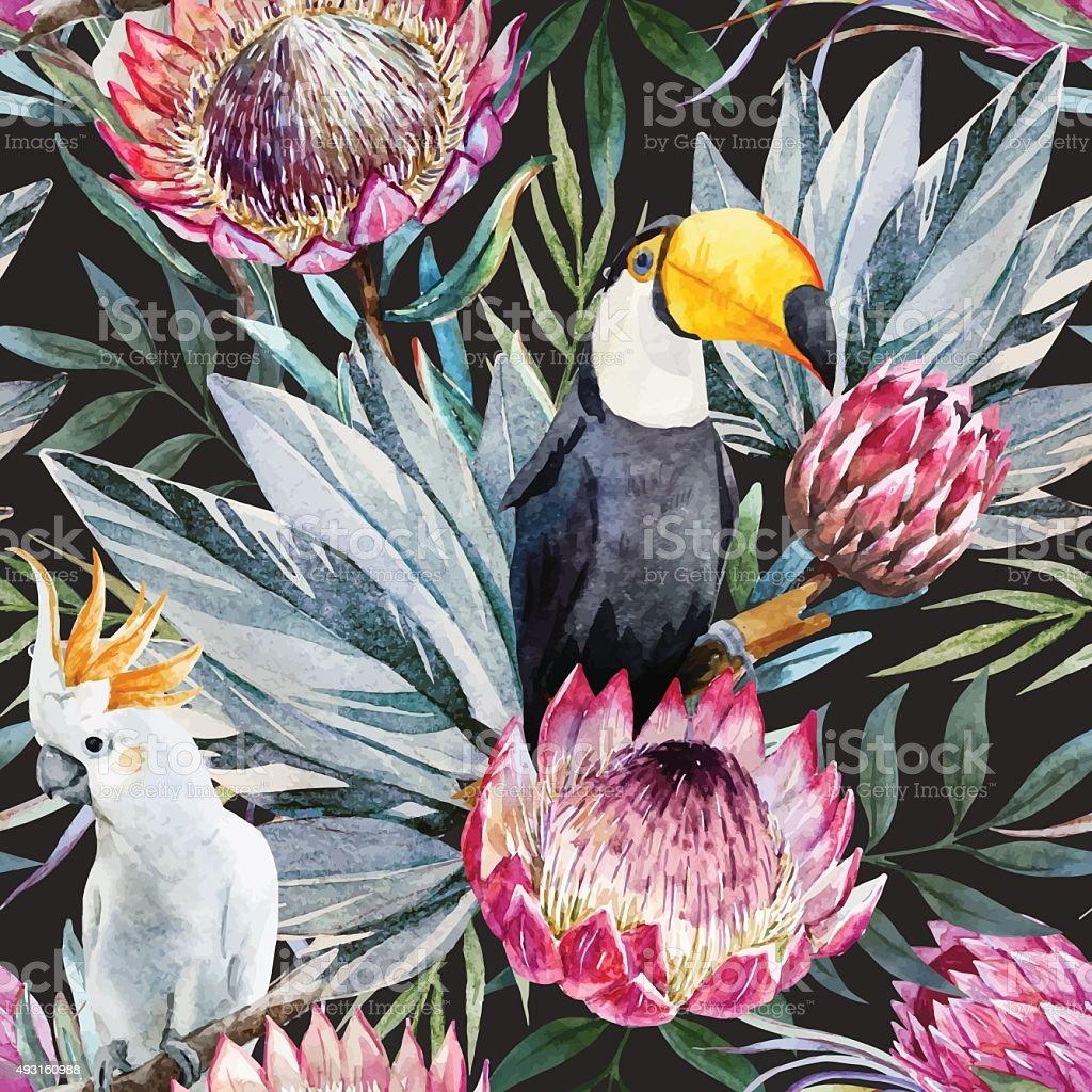 Vector tropical protea pattern vector art illustration