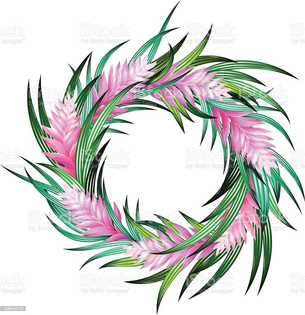 vector tropical wreath vector art illustration